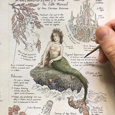 "Custom Literary-inspired Journal Page for Mariya featuring ""Den Lille Havfrue"" (The Little Mermaid) by Hans Christian Andersen. My favourite part about this, besides studying mermaids, was drawing and studying underwater plant life as opposed to my usual woodland-inspired works. I just love all the various colours you find in the ocean that you wouldn't see elsewhere, it's like looking at life on another planet. Will definitely be doing more of this in the future! #literaryfieldnotes"