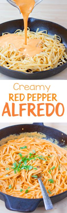 This deliciously thick and creamy homemade red pepper alfredo pasta is surprisingly simple to make. I make a variation of this creamy pasta dish at least once a month. Easy Baking Recipes, Pasta Recipes, Cooking Recipes, Dessert Recipes, Lasagna Recipes, Lentil Recipes, Broccoli Recipes, Homemade Desserts, Noodle Recipes