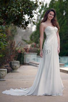 großes Bild 1 Ärmellos A-Linie Perlenbesetztes schick luxus Brautkleid