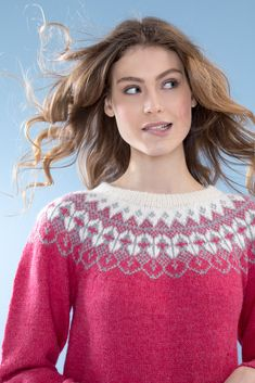 no - dale-rallygenser-bringebær Pattern Library, Christmas Sweaters, Crochet Top, Knitwear, Diy And Crafts, Jumpers, Charts, Knitting, Sewing