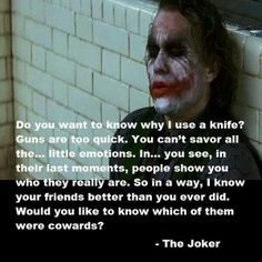 The joker. Heath Ledger. The Dark Knight.