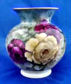 Roses vase by master china painter Rose Casazza; Hertel-Jacob Bavarian porcelain 1946-49 by tlgvintageart on Etsy