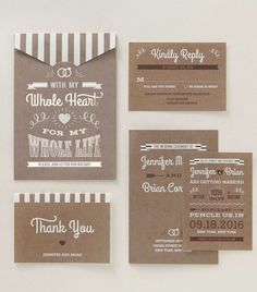 Rustic style wedding stationery by B Wedding Invitations