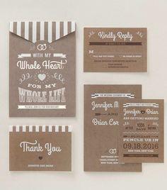 Rustic style wedding stationery by B Wedding Invitations