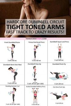 Sport Cardio, Full Body Dumbbell Workout, Fat Workout, Tummy Workout, Arm Circuit Workout, Muscle Workouts, Dumbbell Workout For Beginners, Tone Arms Workout, Strength Training
