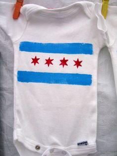 Chicago Flag Baby Onesie by izatchu on Etsy, $12.00