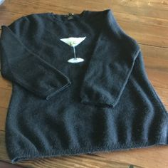 Cute cashmere sweater Black cashmere sweater with martini glass. Size is medium but it's a small medium. Great shape, darling top. Only Mine Sweaters