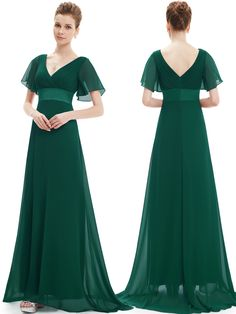 Chiffon V Neck V Back Green Bridesmaid Dress With Sleeves,Chiffon Cap Sleeves…