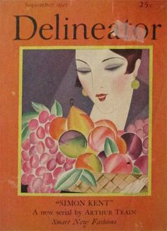 Delineator Magazine cover illustration by Helen Dryden (American), September 1927 Vogue Magazine Covers, Fashion Magazine Cover, Vogue Covers, Magazine Art, Art Deco Posters, Vintage Posters, Poster Prints, Art Prints, Art Deco Illustration