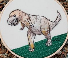 Machine embroidery textile art hoop 7  Tony the by accidentalvix, $38.25
