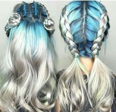silver grey sky blue ombre braids and buns
