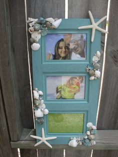 Beach Home Decor Large Tiffany Blue-Aqua Photo Frame Decorated with Limpet Shells, White Shells, Seaglass, White Starfish, Sand Dollars More