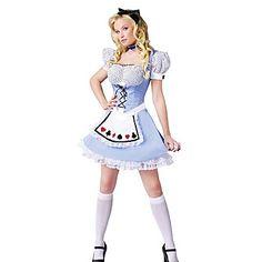 Lovely Girl Alice no traje de Halloween do país das maravilhas de poliéster azul das mulheres – USD $ 29.99