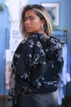 Black Long Sleeve Hoodie Bleach Tye Dye Smoke Gradient | Consttant Black Hooded Sweatshirt, Black Hoodie, Hooded Sweatshirts, Hoodies, Tye Dye, Bleach, Outfit Ideas, Ruffle Blouse, Ootd