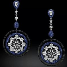 Michelle Ong Dream Catcher earrings featuring black diamonds, rose cut white diamonds and blue sapphires. @thejewelcollective