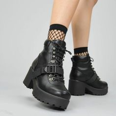 HIDEO Strap up Boots - Black Chunky Platform Adjustable Strap Hiking Boots – KOI footwear Source by aboutmylxfe - Platform Boots Outfit, Black Platform Boots, Black Boots, Shoe Boots, Goth Platform Shoes, Edgy Shoes, Cute Shoes, Gold Shoes, Leather Shoes