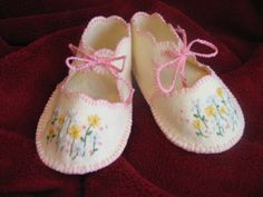 vintage style handmade wool blend felt booties with hand embroidered flowers by dragonbees on Etsy, $17.95