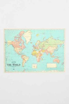 Hanging World Map Art Print Room Decor And Stuff Pinterest - Small world map poster