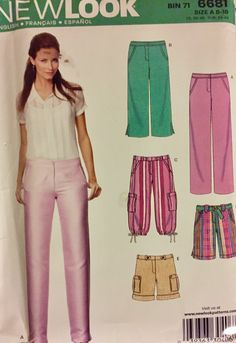 New Look 6681  Misses pants, capris, shorts, knickers  Sizes 8-18   Simplicity Patterns      Uncut paper pattern, factory folded.    This pattern incl
