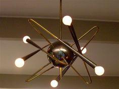 Vintage 1950s Italian modernist chandelier by Stilnovo.