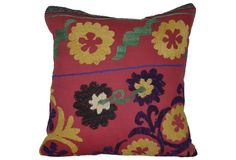 Cherry Red w/ Sunflower Suzani Pillow