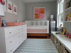 14 gorgeous girl nurseries | BabyCenter Blog...love the dresser, rug and storage on right