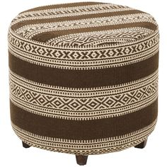 Dark Brown and Cream Walker Ottoman by Surya