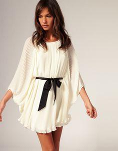 River Island Blouson Pleat Dress With Belt