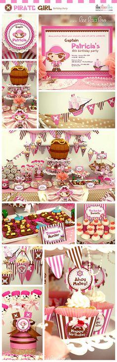 Pirate Girl Pink Brown Birthday Party Mini Set  by LeeLaaLoo, $29.00
