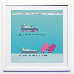 ACHICA | Ralph Lazar & Lisa Swerling - How To Deal With Monsters Under The Bed, Fine Art Print, 30 x 30 cm