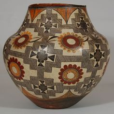 Historic Acoma Pottery | Absolutely Fantastic Four-color Polychrome Acoma Olla [SOLD]