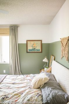 This DIY guest bedroom makeover by Ashley from Bigger Than The Three Of Us is full of modern and eclectic design details. Ashley used a light shade of Conifer Green to bring color into the room Light Green Bedrooms, Green Bedroom Walls, Sage Green Bedroom, Bedroom Wall Colors, Home Decor Bedroom, Bedroom Modern, Bedroom Picture Walls, Green Bedroom Colors, Green Wall Color
