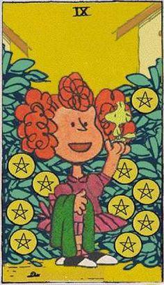 Peanuts Tarot - nine of pentacles - I can't event! LOL