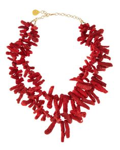 Red Coral Necklace by Devon Leigh at Last Call by Neiman Marcus. Coral Jewelry, Beaded Jewelry, Beaded Necklace, Red Coral, Turquoise, Devon, Handmade Jewelry Designs, Wow Products, Beautiful Necklaces