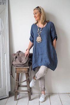 Women Summer Style Linen Cotton Casual Plus Size Blouses Tops Women's Summer Fashion, Boho Fashion, Fashion Outfits, Gothic Fashion, Vetements Clothing, Chicago Fashion, Apostolic Fashion, Linen Tunic, Mode Outfits