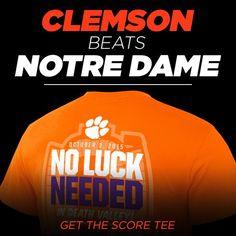 "Get the ""No Luck Needed"" Score Tee NOW in stock at shop.clemsontigers.com - #ALLIN"