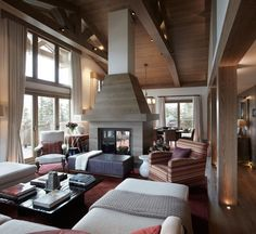 Ceiling and beams! Courchevel Chalet by Todhunter Earle 4 Interior Design Hd, Chalet Interior, Best Interior, Interior And Exterior, Chalet Design, House Design, Chalet Style, Home Living Room, Living Room Decor