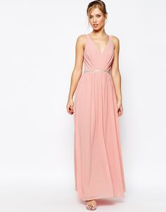 $146- Image 1 of Jarlo V Neck Maxi Dress In Chiffon With Embellished Waist
