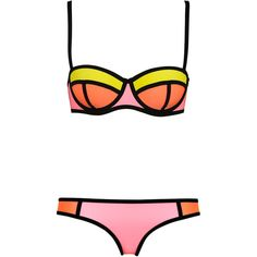 POPPY PINK LEMONADE (£71) ❤ liked on Polyvore featuring swimwear, bikinis, bikini, bathing suits, swimsuits, bikini swimsuit, neoprene bikini, bikini tops, pink bikini bottoms and underwire bra