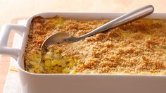 Creamy corn bakes into old-fashioned comfort food. This cheesy version is a mainstay for many family gatherings.