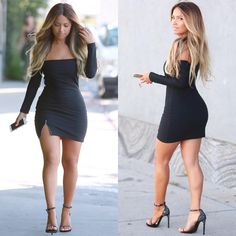 Sexy Off Shoulder Slash Neck Zipper Slit Long Sleeve Party Bodycon Dress one size black Online Shopping Trendy Outfits, Cute Outfits, Fashion Outfits, Bar Outfits, Women's Fashion, Dress Outfits, Fashion Beauty, Sexy Dresses, Short Dresses