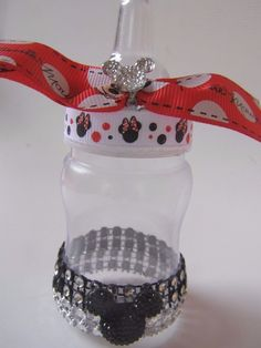 Mickey Minnie Mouse Bling 10 Baby Bottle Favors Baby Shower Newborn Red Black #BabyShower
