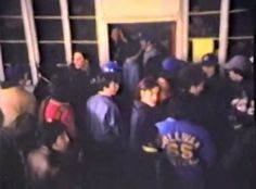 A crowd of vendors wait their turn to get their assignment to work.   April 1978  from the movie:  sound of money - part 8