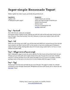 Printable yogurt recipe
