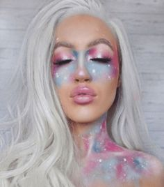 Beauty 101 with Keilidh Cashell – Face Makeup Cool Makeup Looks, Creative Makeup Looks, Halloween Makeup Looks, Cosplay Makeup, Costume Makeup, Rave Makeup, Makeup Geek, Galaxy Makeup, Unicorn Makeup