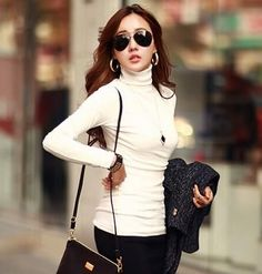 Women casual lady cotton shirt basic top Long sleeve turtleneck Blouse solid