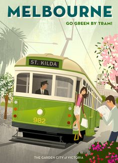 Melbourne travel poster featuring their famous tram cars, by Michael Crampton.