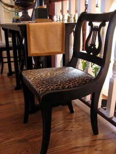 distressed black spray paint chairs