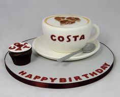 Costa Coffee Cup Novelty Cake  Cake by FancyCakesbyLinda - For all your cake decorating supplies, please visit craftcompany.co.uk