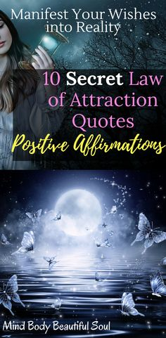 10 Secret Law of Attraction Quotes Positive Affirmations. Manifest Your Wishes Into Reality. Secret Law Of Attraction, Law Of Attraction Quotes, Affirmations For Women, Positive Affirmations, Positive Thoughts, Quotes Positive, Positive Vibes, I Am Statements, Mindfulness Exercises